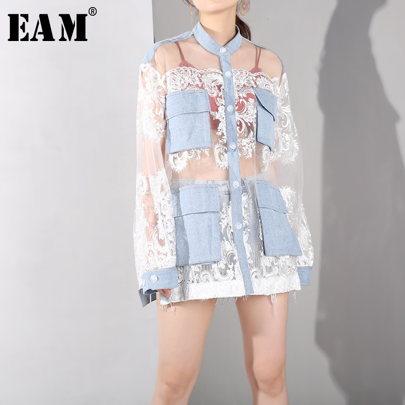 EAM 2019 New Spring Summer Stand Collar Long Sleeve Denim Pocket Lace Loose Big Size