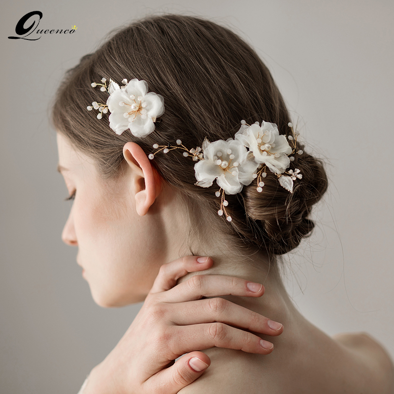 Wedding Vintage Style Hair Accessories: Gold Floral Pearl Hair Jewelry Vintage Women Hair