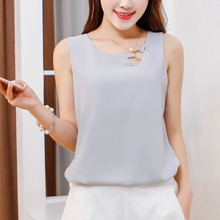 Fashion brand New Women Tanks Top summer Casual shirts plus size sleeveless Self-cultivation Blouse Double layer chiffon Blouses