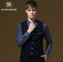Dandy Homme High Quality 2015 Men Autumn Blue Stripe Stars Printed Formal Suits Vests Super Slim Fashion Business Wedding Groom