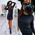 Осень Зима Женская Мода Bodycon Dress Элегантных Женщин Кружева Шить Вскользь О Шеи Длинным Рукавом Мини Dress Cocktail Party Dress