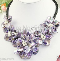 Free shipping >Pretty Hand Weave Purple Natural MOP Shell Flower White Pearl Necklace 18