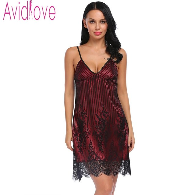 c26e2d441c69 Avildove Sexy Silk Satin Night Dress Women Sleeveless Nighties V-neck Nightgown  Plus Size Nightdress Lace Sleepwear Nightwear