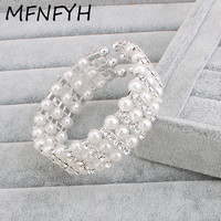 MFNFYH Simulated Pearl Bracelets For Women Gift Rhinestone Wide Silver Bangle Bridal Wedding Jewelry Open Cuff