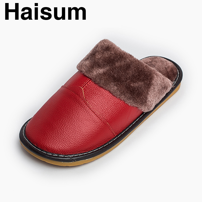 Ladies Slippers Winter genuine Leather Thick With Plush Home Indoor Non-slip Thermal Slippers 2018 New Hot Sale Haisum H-8002 plush home slippers women winter indoor shoes couple slippers men waterproof home interior non slip warmth month pu leather