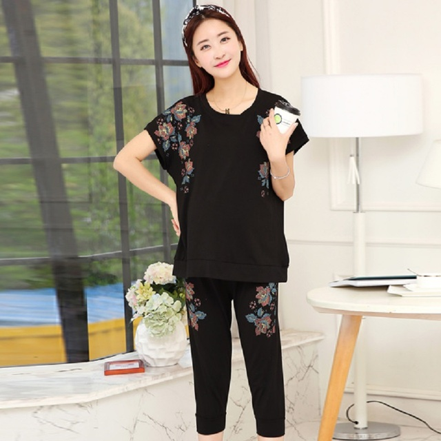 2016 new summer maternity clothing set cotton knitted T shirts and short trousers maternity T shirts pregnancy pants 16769