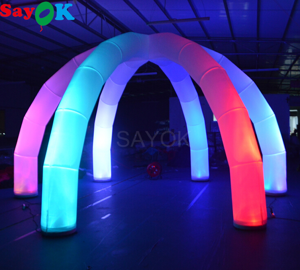 Giant Outdoor Inflatable Spider Ten with 6 Legs LED Arch Tent 6x6X3M 16 Color Changing Lights for Exhibition Event Rental