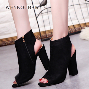 Image 2 - Summer Women Sexy Pumps Suede High Heels Sandals Slingback Zip Ankle Boots woman heel shoes Zapatos Mujer Open Toe Square heel