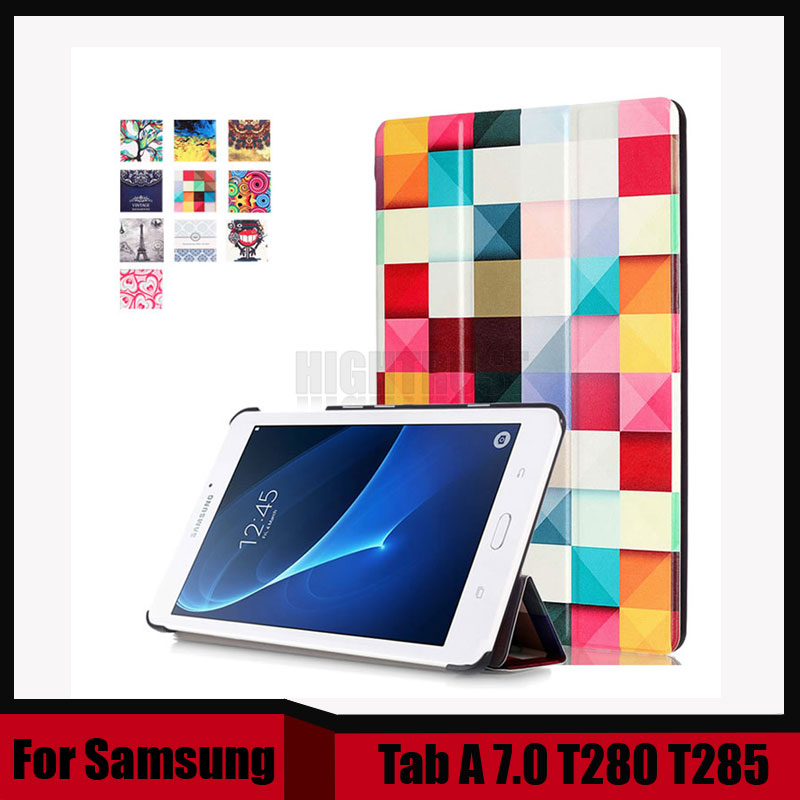 Print Pu leather case for samsung galaxy tab A 7.0 SM-T280 T280 T281 T285 7 tablet cover case +screen protector film as gift