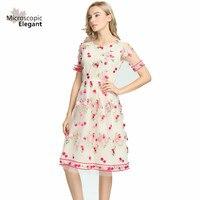 2017 Women Dresses Mesh Embroidered Dress Flowers O neck Elegant Elastic Waist Maxi Female In Beach
