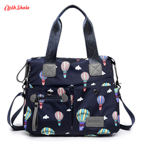 cloth shake New fashion Women Bag Handbags Soft Waterproof nylon Oxford Shoulder Crossbody Bags Cartoon Hot Air Balloon Printing