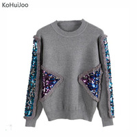 KoHuiJoo 2018 Autumn Winter Knitted Pullover Women Sweater Black Gray O Neck Sequined Sweaters Fashion Knit Tops Long Sleeve
