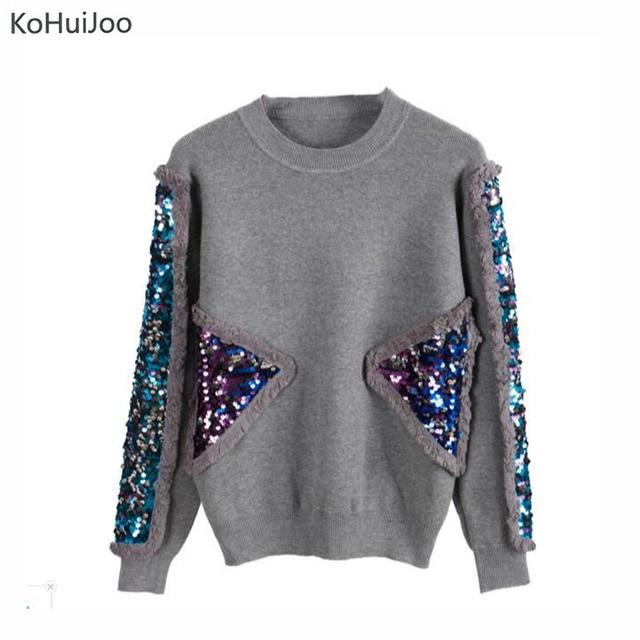 Kohuijoo 2017 осень-зима трикотажный пуловер Для женщин свитер Черный, серый цвет o Средства ухода за кожей шеи блестками Свитеры для женщин модные трикотажные Топы корректирующие с длинным рукавом