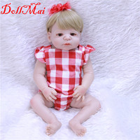 DollMai real dolls 2255cm bebe girl reborn full silicone body reborn dolls blond hair blue/borwn eyes children gift toys
