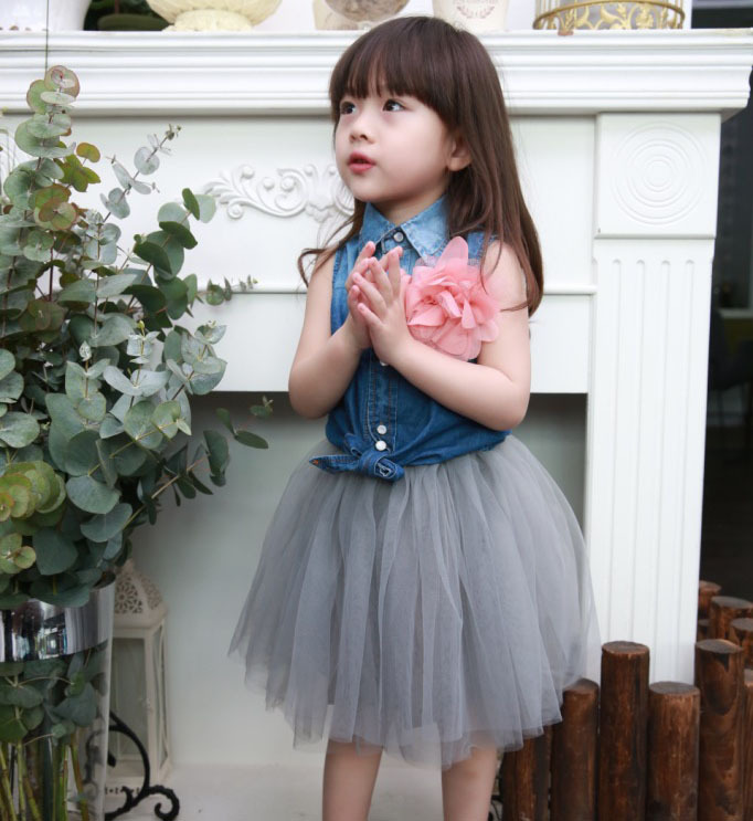 fashion nova 2015 summer denim vest blouse+mesh skirts 2pcs girls baby clothing set roupas infantis menino for 2~7 age kids suit
