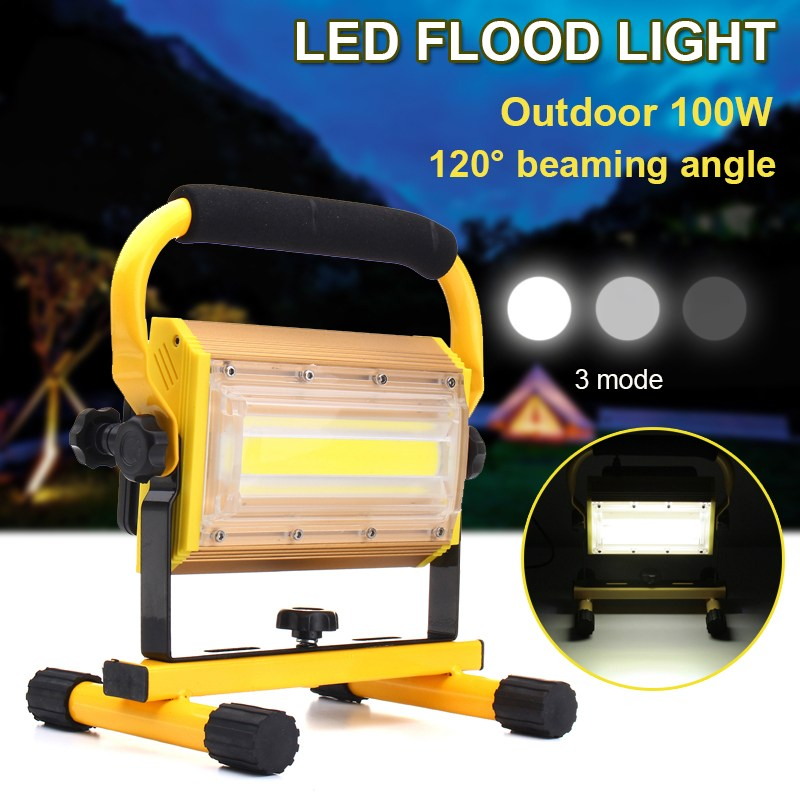 Dimmable 100W Portable LED Floodlight Cordless Work Light Rechargeable COB LED Flood Light Spot Outdoor Working Camping Lamp cob led flood light dimmable 100w portable led floodlight cordless work light rechargeable spot outdoor working camping lamp