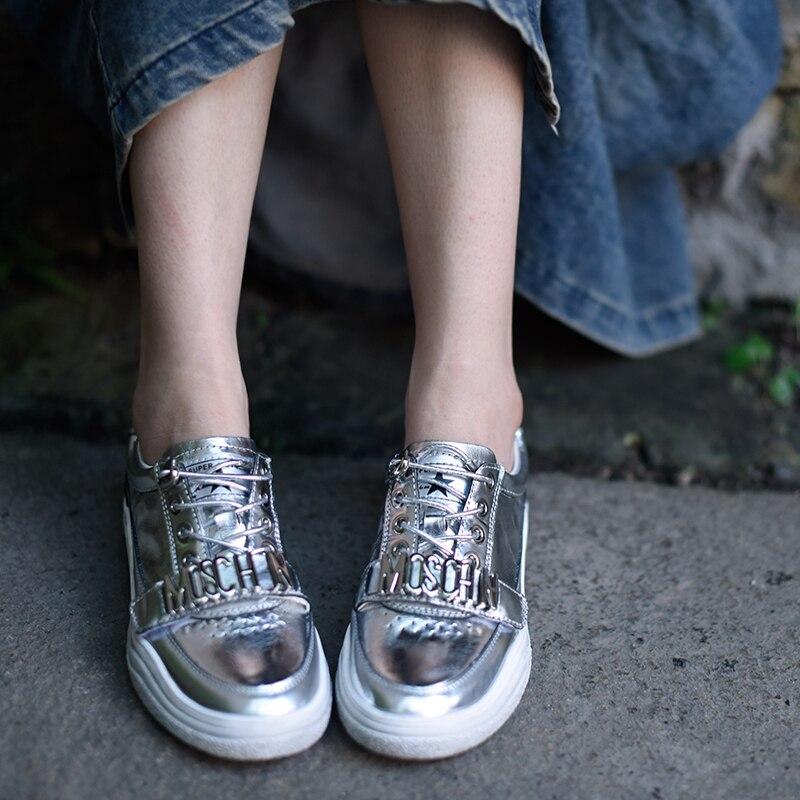 Main Nouveau Quatre Et En La Artmu Plat Red Blanc Ym888 Femmes white 2019 Printemps Automne Saisons Lumineux silver Chaussures Cuir Occasionnels À WqpgT