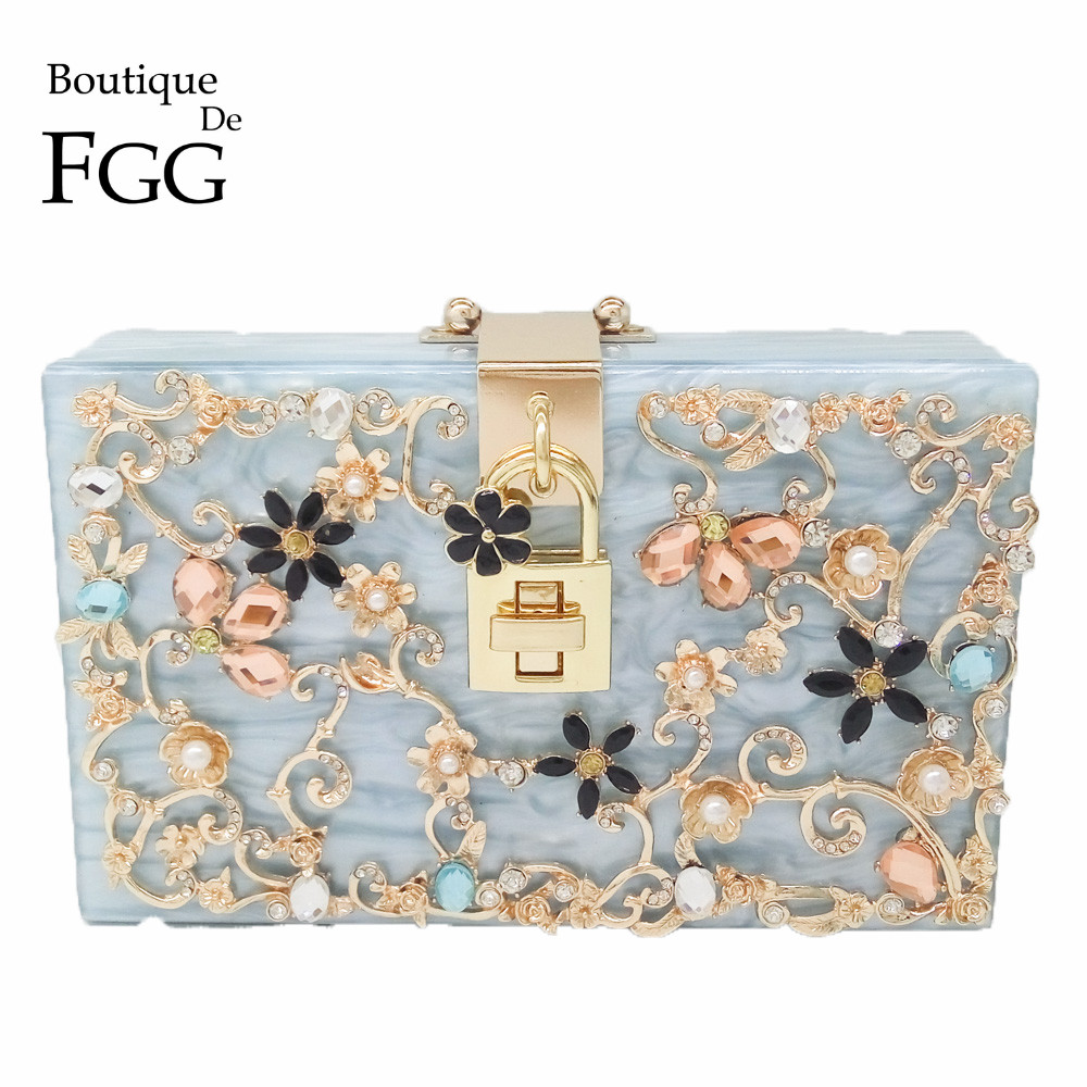 Boutique De FGG Light Blue Women Acrylic Box Clutch Bag Flower Crystal Evening Handbags Party Chain Shoulder Crossboday Bag