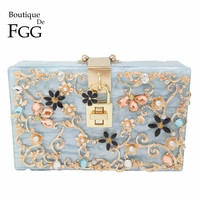 Boutique De FGG Light Blue Women Acrylic Box Clutch Bag Flower Crystal Evening Handbags Party Chain Shoulder Crossboday Bag