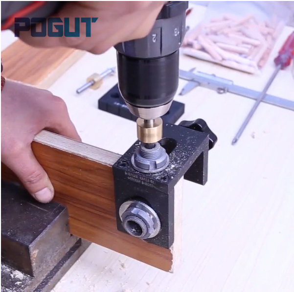Carpenter Tools Set Wood Drilling Guide Dowel Jig for Corner Edge Surface Joints Drilling Wood Clamp