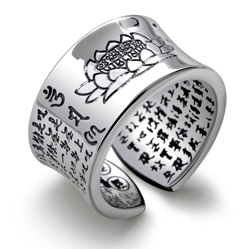 999 Sterling Silver Open Ring Buddhism Om Mani Padme Hum Buddhist Lotus Women Thai Silver 1.2cm Wide Finger Ring CH051861