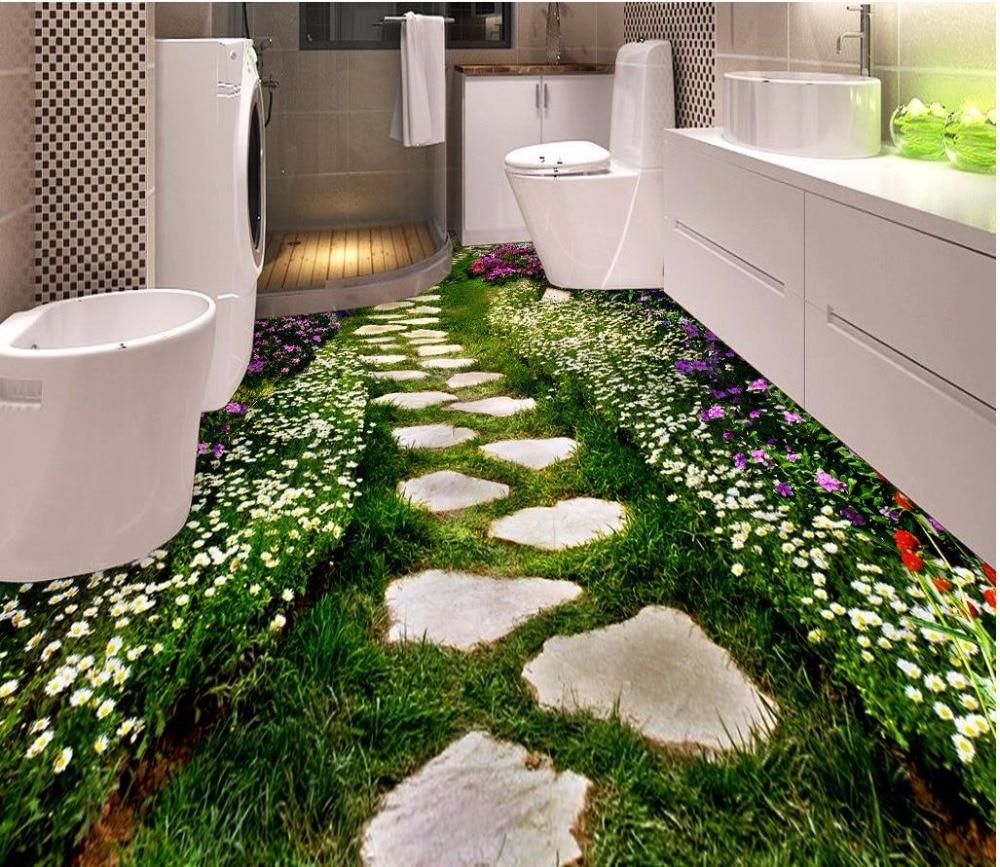3d flooring Flowers path Bathroom Bedroom 3D Floor ...