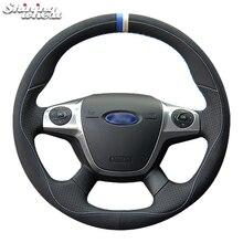 Блестящий пшеничный черный кожаный чехол рулевого колеса автомобиля для Ford Focus 3 2012- C-MAX 2011- KUGA Escape 2013