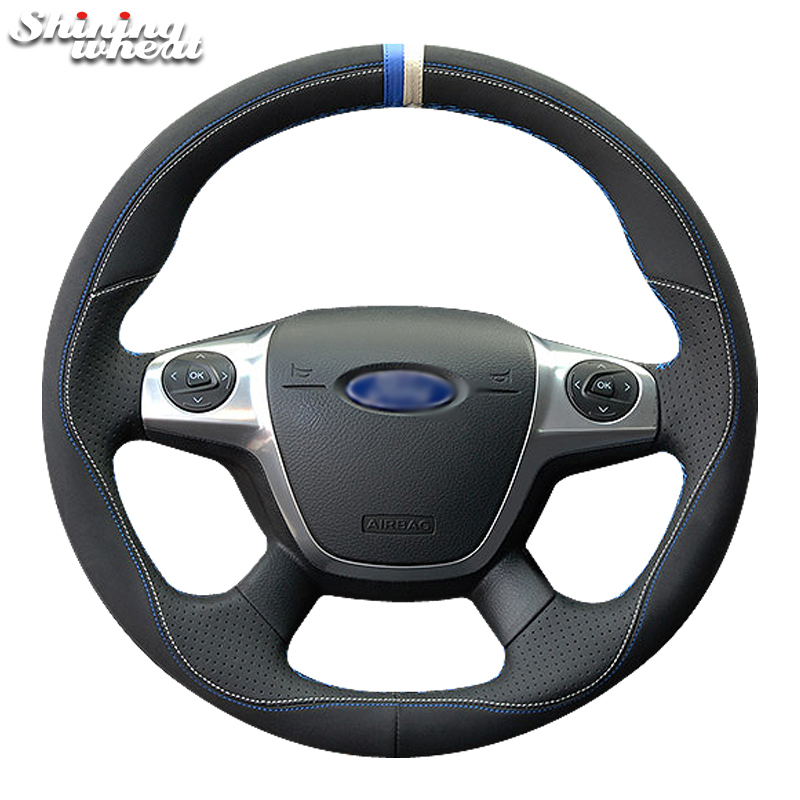 Ford C Max Leather Seats: Shining Wheat Black Leather Car Steering Wheel Cover For