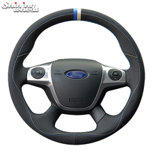 Shining wheat Black Leather Car Steering Wheel Cover for Ford Focus 3 2012-2014 C-MAX 2011-2014 KUGA Escape 2013-2016 car braid on the steering wheel cover for ford focus 3 2015 2018 kuga 2016 2019 escape c max ecosport 2018 2019 auto wheel cover