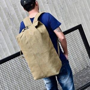 Image 4 - 대용량 배낭 남자 여행 가방 등산 배낭 남자 짐 캔버스 양동이 어깨 가방 남자 배낭