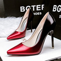 Бесплатная доставка новая мода мелкая рот указал тонкие туфли с одного тонкого OL карьера градиент лакированной кожи на высоких каблуках