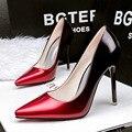 Envío gratis nueva moda boca baja señaló muy bien con zapatos de un solo OL carrera delgada gradiente de charol zapatos de tacón alto