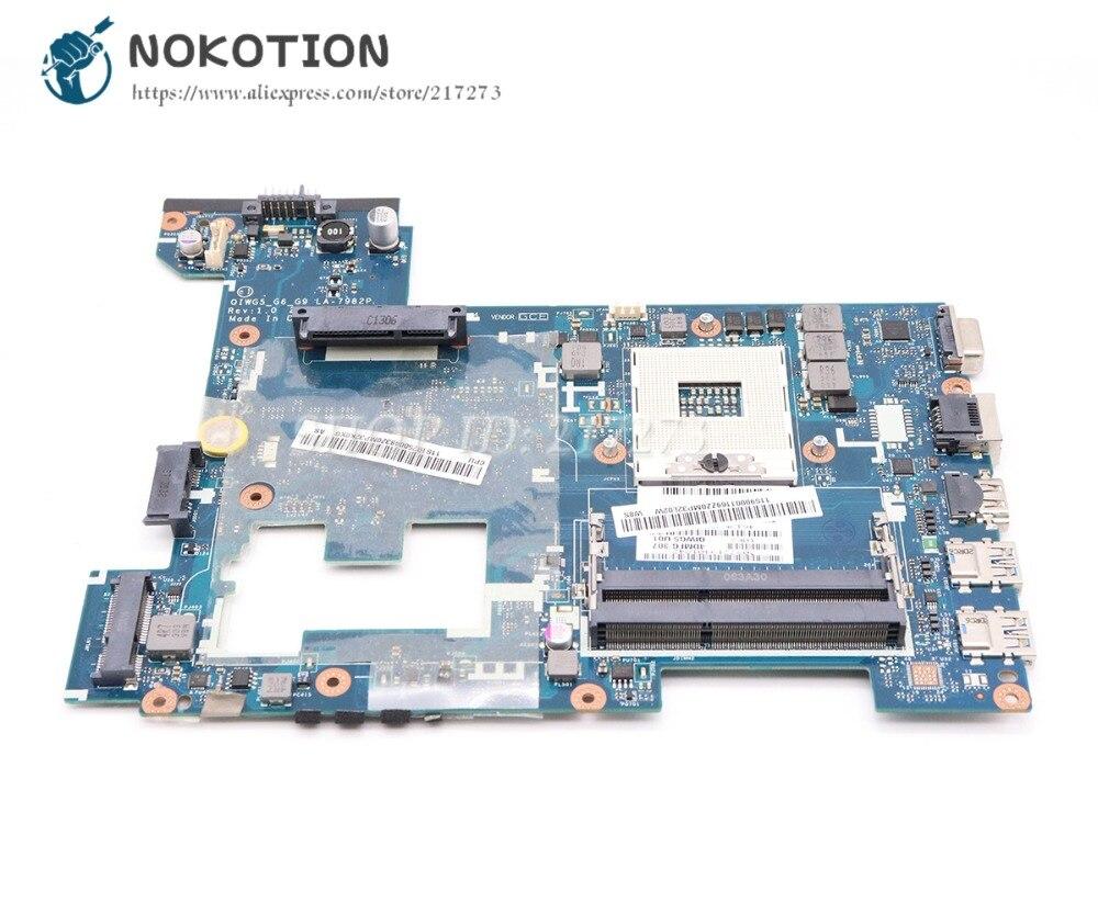 все цены на NOKOTION For Lenovo G480 Laptop Motherboard QIWG5_G6_G9 LA-7982P MAIN BOARD 14 Inch HM76 UMA DDR3 онлайн