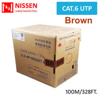 Cat6 328ft 100M OFC UTP NETWORK ETHERNET CABLE 350MHz 24 AWG LAN Real GigaSpeed Brown