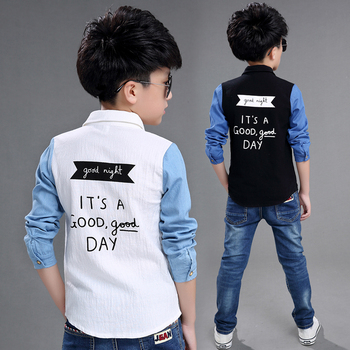 2018 autumn children's clothing boys shirts causal denim sleeved turn-down collar boy shirts for boys kids letters shirts top
