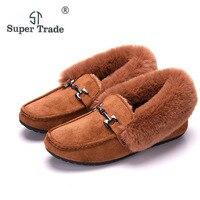 SUPER TRADE Winter Women Loafers Shoes Inside Warm Soft Women Flats Winter Fur Lined Slip On