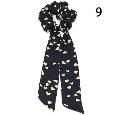 Модный летний шарф «конский хвост», эластичная лента для волос для женщин, бантики для волос, резинки для волос, резинки для волос с цветочным принтом, ленты для волос - Цвет: 009