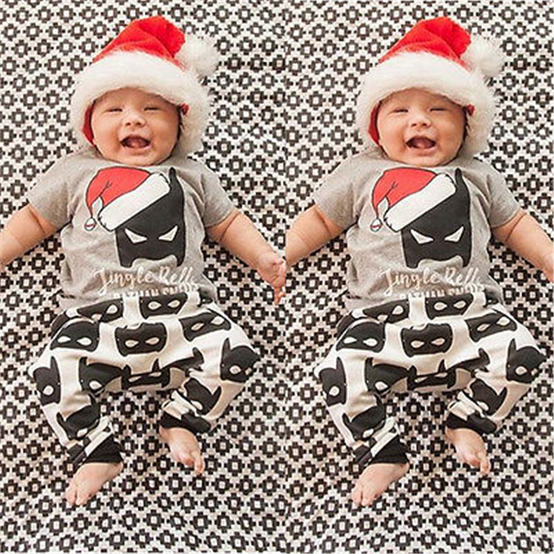 Newborn Baby Clothes Set Christmas Batman T-Shirt Top+Pants Leggings 2PCS Hot Summer 2017 New Outfit Children Clothing Set 0-3Y
