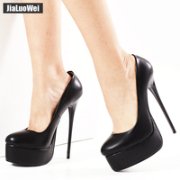 jialuowei Women Pumps Fetish Extreme High Heels 16cm Stiletto Thin Heel Sexy Platform Pumps Black Snake Print Slip On Dance Shoe