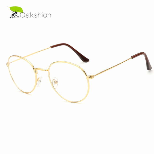 771efe450c3 2018 New Fashion Designer Clear Glasses Round Metal Gold Glasses Frame  Women Men Clear Lens Eyeglasses