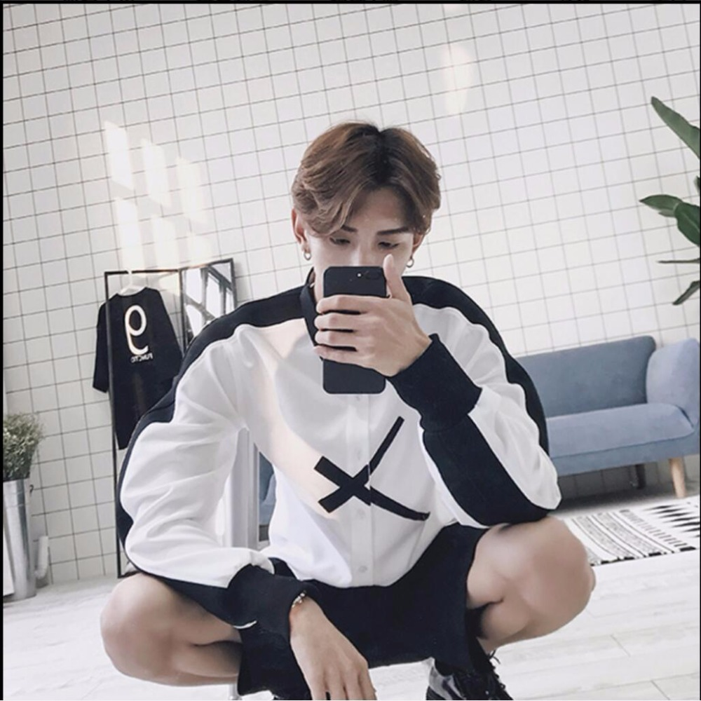 HOT 2019 summer new Men top gd shirt white and black patchwork color block loose long sleeve shirt hairstylist tide DJ clothing