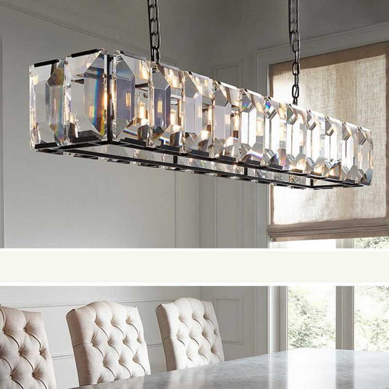 American retro минималистский фонарный столб Современная Nordic Дизайнер гостиной столовой исследование столовая Круглый K9 Хрустальная люстра