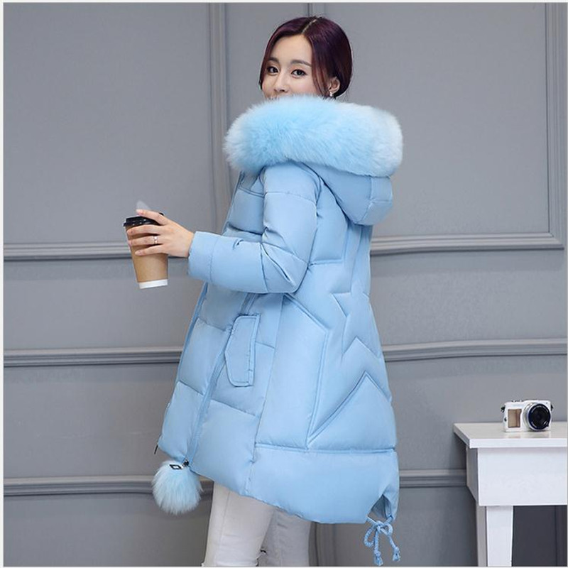2017New Style Winter Women Down Cotton A-Line Style Parka Women Thicken Size S-3XL Six Colors Hooded Fur Collar Cotton CoatCQ187 anne klein new blue black women s size small s button down back blouse $59