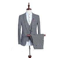 3pcs Suit Men Fashion Casual Plaid Suit Latest Coat Pant Designs Slim Fit Mens Tuxedo Suits