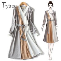 Trytree Spring Summer Dress Women Casual Polyester and Cotton Striped Parchwork colors A line Dress Sashes Knee Length Dress