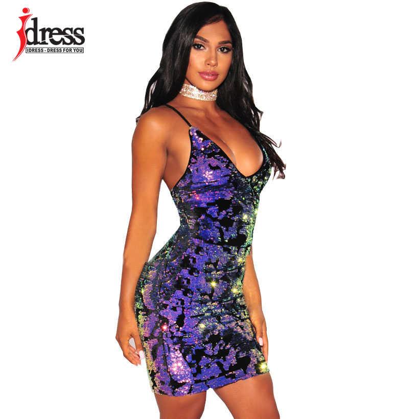 172a0496a4 IDress 2017 Sexy Spaghetti Strap Nightclub Mini Party Dresses Purple Summer  Sequined Dress Vestido Backless Sequin