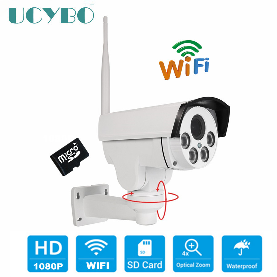 Wireless PTZ IP Camera WIFI 1080P HD outdoor pan tilt 4x auto zoom compatible hikvision Security ip cameras surveillance SD Card hd 1080p pan