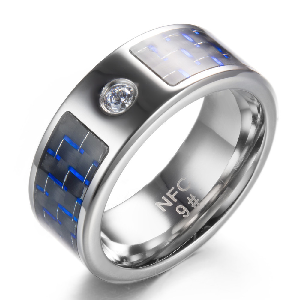 Cincin Couple Polos Silver Nfc Smart Ring Male Digital Intelligent For Female Blue Carbon Fiber Titanium Steel Wholesale In Rings From Jewelry Accessories On