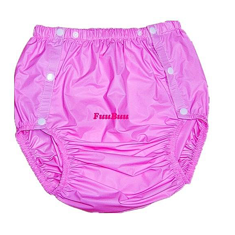 Free shipping FUUBUU2203-Pink-M-1PCS adult diapers non disposable diaper plastic diaper pants pvc shorts image