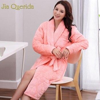 J&Q 2019new Female Robes Plus Size Robe Bathrobe Winter Home Wear Dressing Gown Velvet Cotton Padded Pyjamas Femme Lingerie Robe